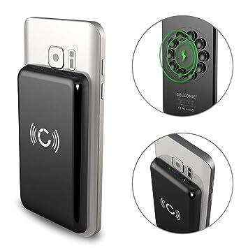 CELLONIC® Wireless Power Bank inalámbrica para dispositivos Qi iPhone 11 Pro Xs Max Galaxy S10 + Huawei Mate 20 Pro 2600mAh Batería Externa sin cable ...
