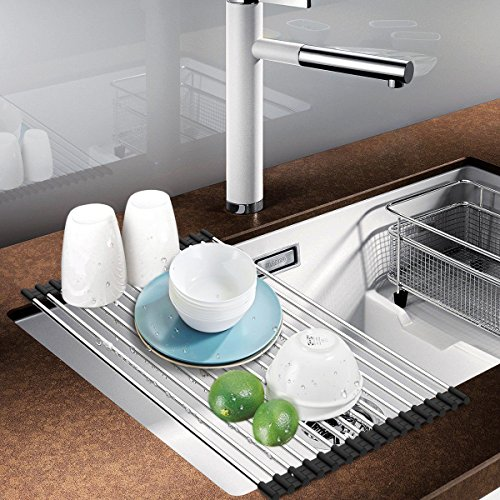 Roll up Dish Drying Rack Over Sink Stainless Still Dishes Drainer Rack Multipurpose Kitchen Drying Rack Foldable Dryer Rack for RV and Camper by (Dryer Drawers)