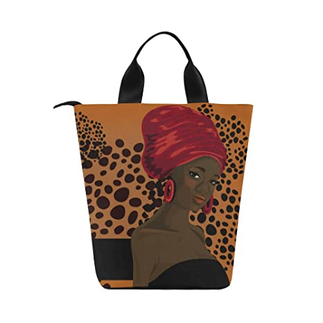 aea4eb7105af InterestPrint Traditional African American Woman Nylon Cylinder Lunch Bag  Tote Shopping Handbag, Reusable Large Lunchbox Grocery Bag