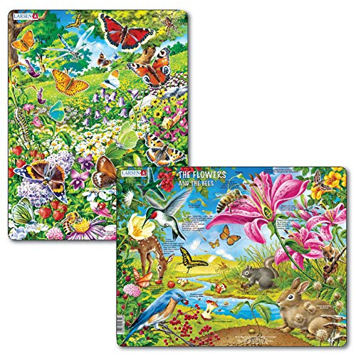 Larsen Puzzles Butterflies and Nature Children's Jigsaw Puzzle Set - Pack of 2 Frame & Tray Style Puzzles ()