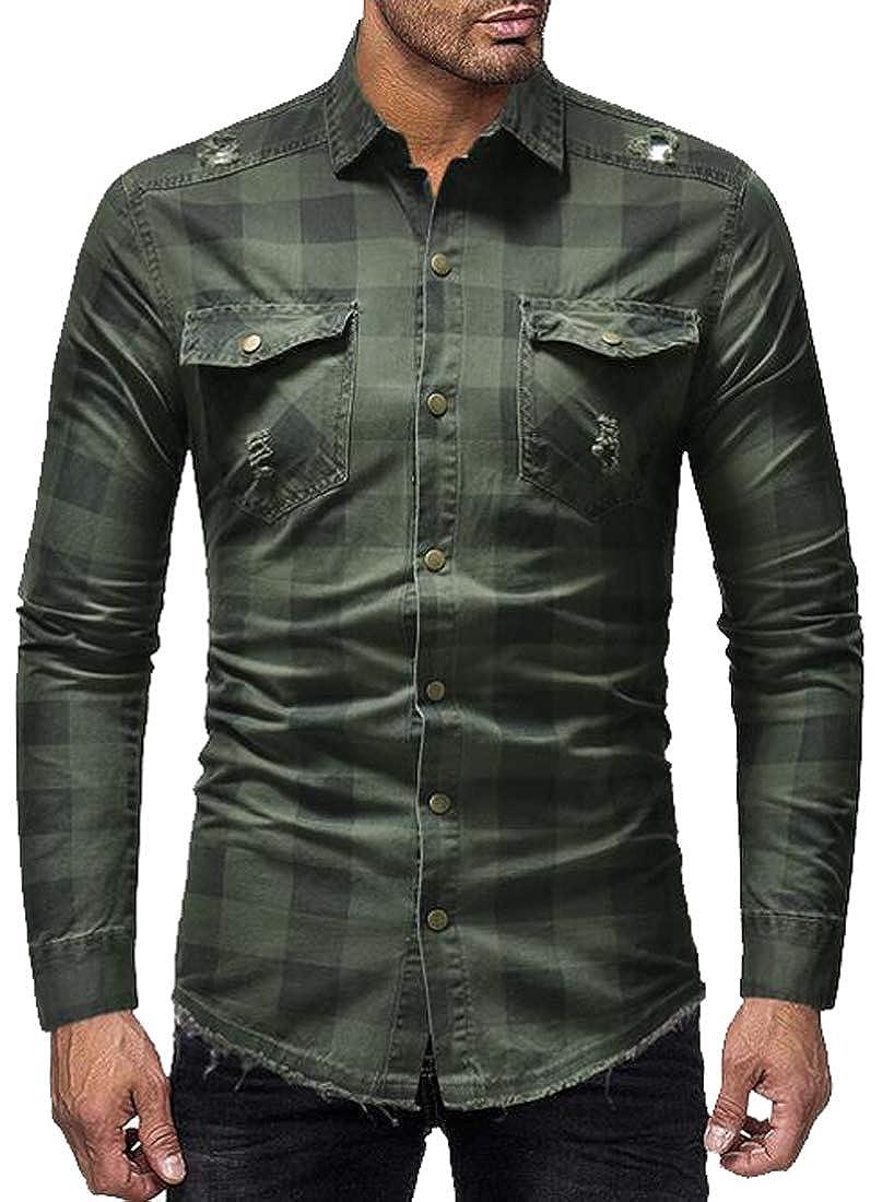 Fubotevic Mens Button Down Ripped Long Sleeve Checkered Denim Dress Work Shirt
