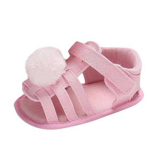 f53e7bb89f9e Amazon.com  KONFA Toddler Infant Baby Girls Pompom Canvas Sandals ...