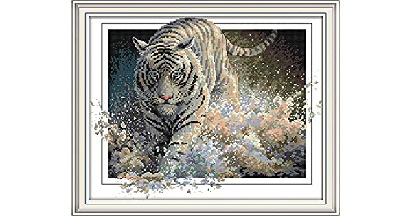 Tiger Stamped 11CT CaptainCrafts New Stamped Cross Stitch Kits Preprinted Pattern Counted Embroidery Starter Kits for Beginner Kids and Adults