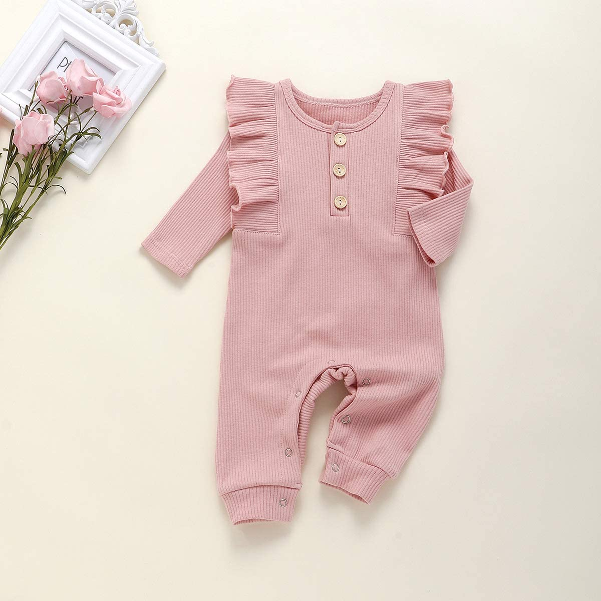 YueJia Newborn Baby Girls Clothes Romper Solid Color Ruffle Long Sleeve Knitted Infant Girl Jumpsuit Basic Bodysuit
