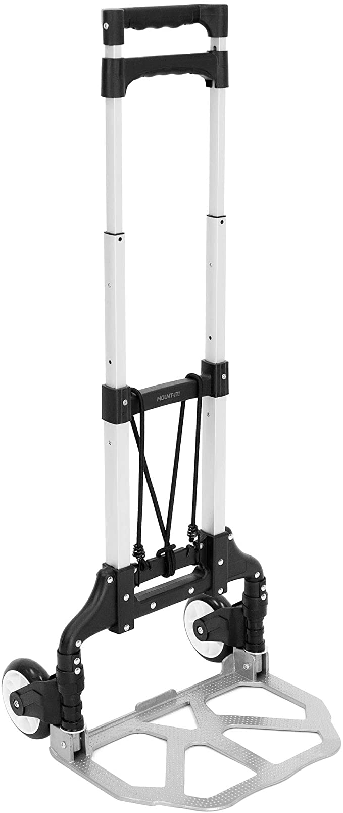 Amazon Com Mount It Folding Hand Truck And Personal Dolly Aluminum Luggage Cart 165 Lb Capacity With Rubber Wheels And Telescoping Handle For Indoor Outdoor Moving Travel Office Products