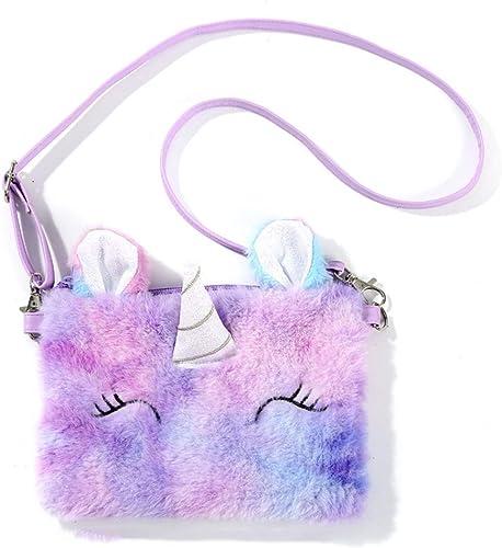 Neue Kinder Mädchen Einhorn Plüsch Umhängetasche Cross-Body Handtasch  AH
