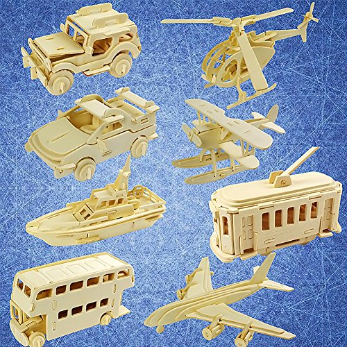 - Traffic Transportation 3D Wooden Puzzle, Car Bus Helicopter Patrol Boat Jeep DIY Models Set Puzzle Gift Brain Teaser Toy for Kids Adult
