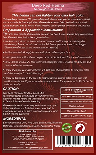 The Henna Guys Hair And Beard Dye Deep Red 1 Pack Available In
