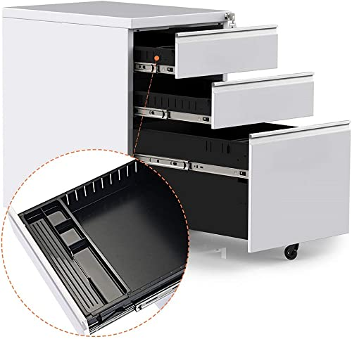 File Cabinet on Wheels with 3 Drawers White