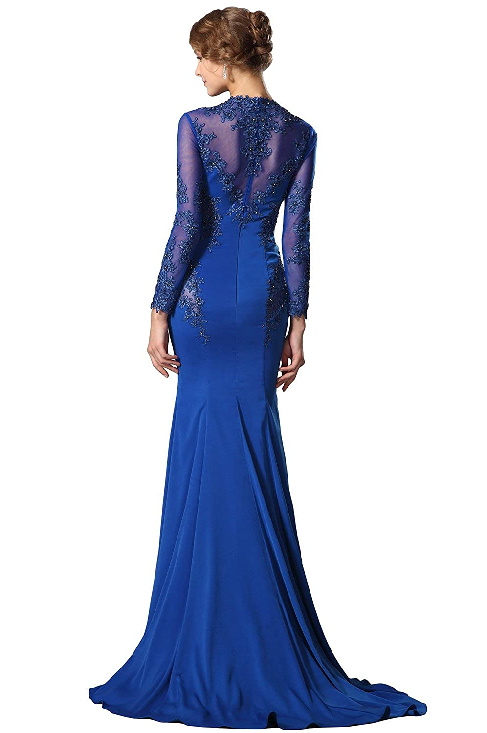 Amazon.com: New Arrival Blue Long Sleeves Lace Applique Evening Dress Formal Gown (02150205): Clothing