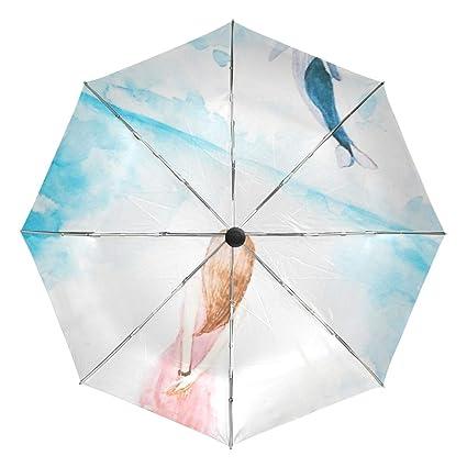 a144ece0cc07 Amazon.com: Cartoon Girl Whale Compact Travel Umbrella-Windproof ...