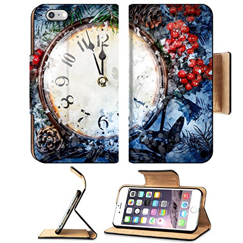 Luxlady Premium Apple iPhone 6 Plus iPhone 6S Plus Flip Pu Leather Wallet Case IMAGE ID: 34215042 Christmas Eve and New Years at midnight Clock covered with snow (Best Eve Hours Christmas Buy)