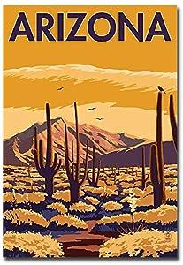 "Arizona Desert Scene with Cactus Travel Vintage Art Refrigerator Magnet Size 2.5"" x 3.5"""