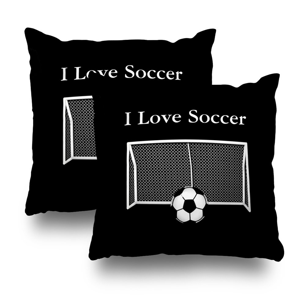 ONELZ I Love Soccer Square Decorative Throw Pillow Case, Fashion Style Zippered Cushion Pillow Cover (18X18 inch,Set of 2)