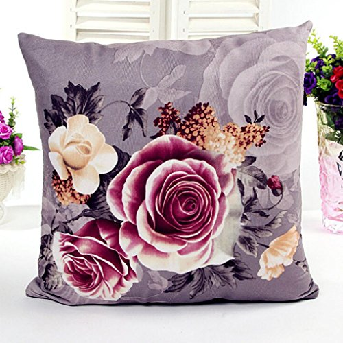 Alimao Printing Dyeing Peony Sofa Bed Home Decor Pillow Case Cushion Cover (Gray) (Furniture Patio 80s)