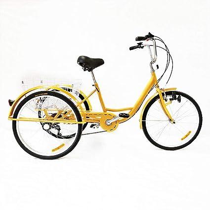 OUKANING Hansemay - Bicicleta de 3 Ruedas para Adultos, 24 ...