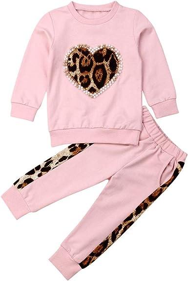 Carolilly 2 Piezas Bebé Traje Deportivo de Sudadera y Pantalones para Niña Conjunto de Camiseta Rosa y Pantalón Chándal Suit de Algodón (1-6 años): Amazon.es: Ropa y accesorios