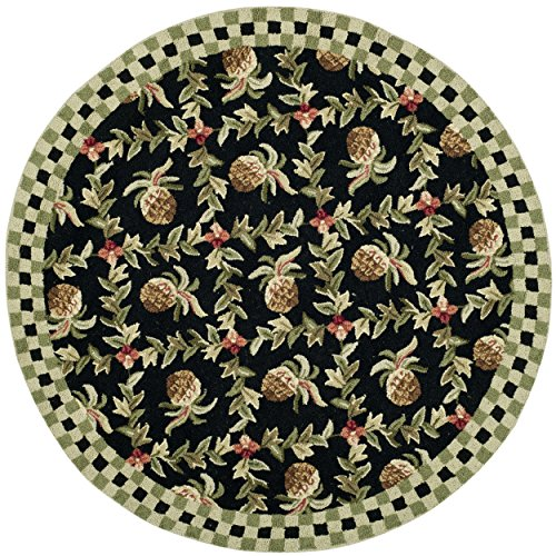 Safavieh Chelsea Collection HK164A Hand-Hooked Black and Ivory Premium Wool Round Area Rug (3' Diameter) ()