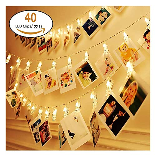 KNONEW LED Photo Clip String Lights - 40 Photo Clips 2.4M Battery Powered LED Picture Lights for Decoration Hanging Photo, Notes, Artwork (Warm-White)