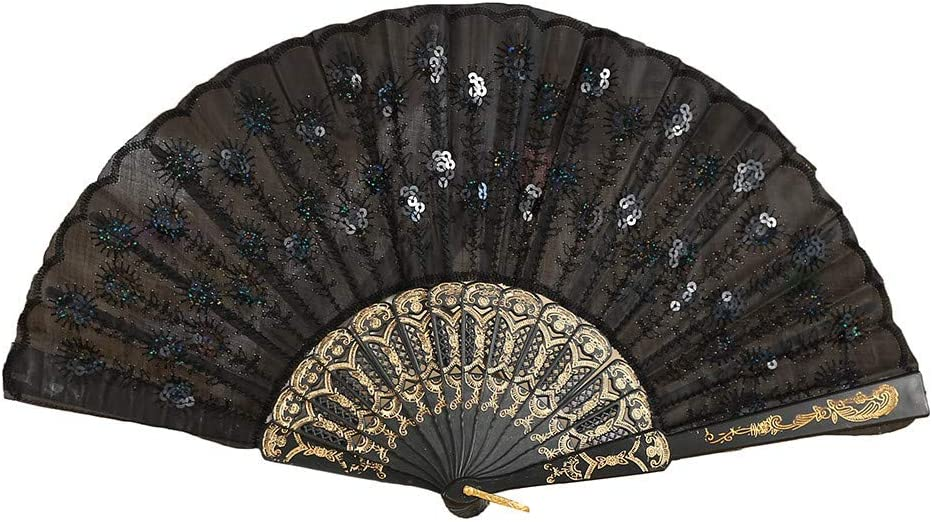 Dsood Elegant Colorful Embroidered Flower Peacock Pattern Sequin Fabric Folding Handheld Hand Fan Hand-Crafted