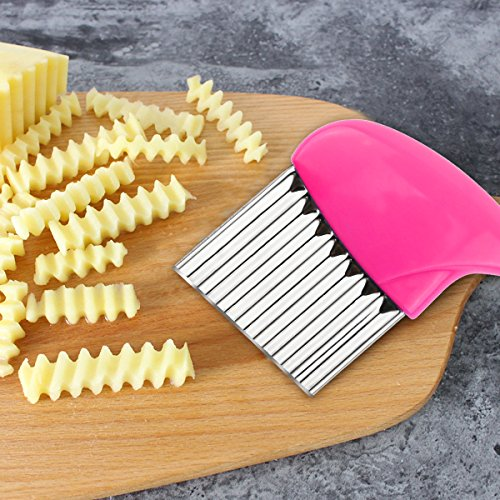 Crinkle Cut Knife set, 1 Fork Slicing Helper 3 Stainless Steel Crinkle Cutter, Fruit And Vegetable Wavy Chopper Knife, Potato Cutter Onion Cutter French Fry Cutter, 4 Colors, Kitchen Must Have Tool by AiTrip (Image #6)