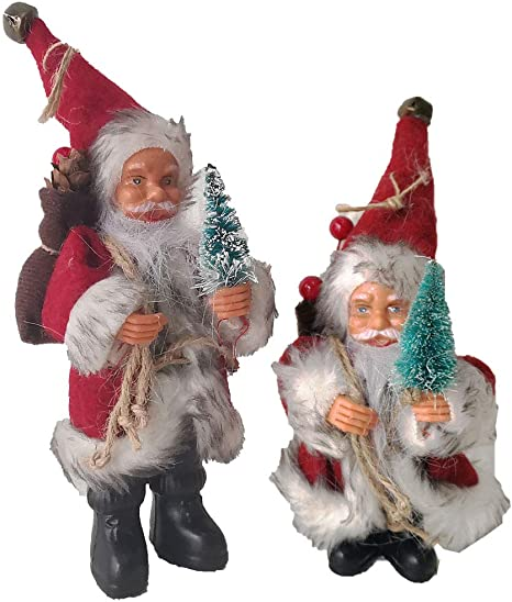 Santa Claus Ornaments Christmas Decorations For Tree Hanging Figurines Collection Traditional Christmas Santa Standing Figurine Set Of 2 Pcs 8 Inch And 6 Inch Kitchen Dining