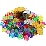 HEHALI 320pcs Pirate Toys Gold Coins and Pirate