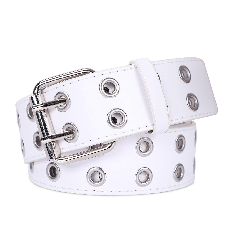 Double Grommet PU Leather Belt for Women/Men Punk metal Jean Belt Wide 1.5 Inch, White, Fit Pants 22-35 inch