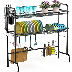 Over the Sink Dish Drying Rack, iSPECLE 2-Tier Large Premium 201 Stainless Steel Dish Rack with Utensil Holder Hooks Stable Bend Foot for Kitchen Countertop Space Saver Non-Slip Black