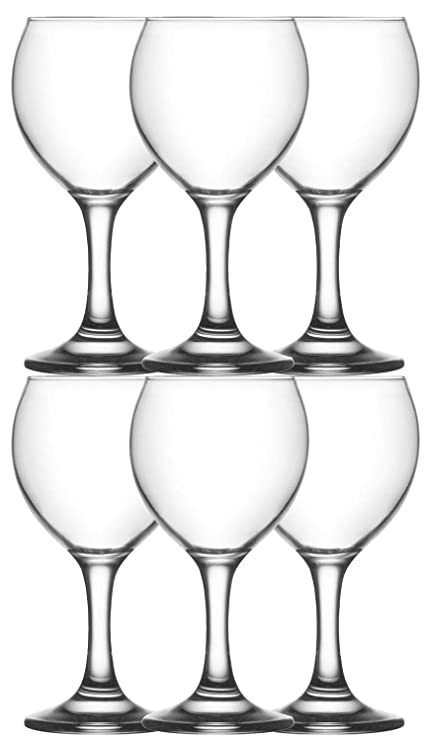 Set 6 Vasos Misket 260 Ml, Vaso de Vidrio Transparente, Lavavajillas Lavable, Altura 16 Cm, 260 ml