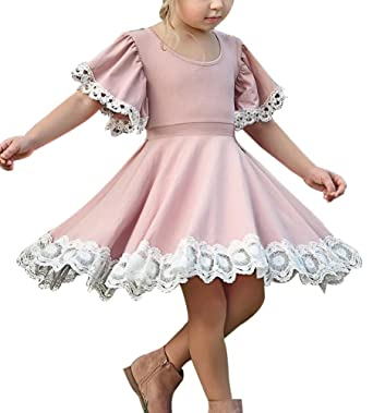 Frecoccialo Robe Demoiselle d honneur Enfant Fille Vintage Courte Col Rond  Jupe Plissé A- a4d1d53f27c