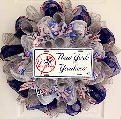 New York Yankees Baseball Sports Wreath Handmade Deco -