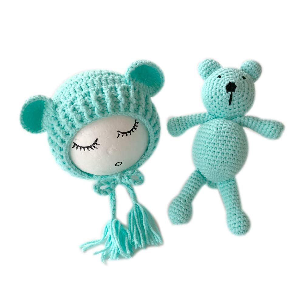 Newborn Boy Girl Photography Props Baby Photo Outfits Cute Hat Toy Bear Green by MommyYa