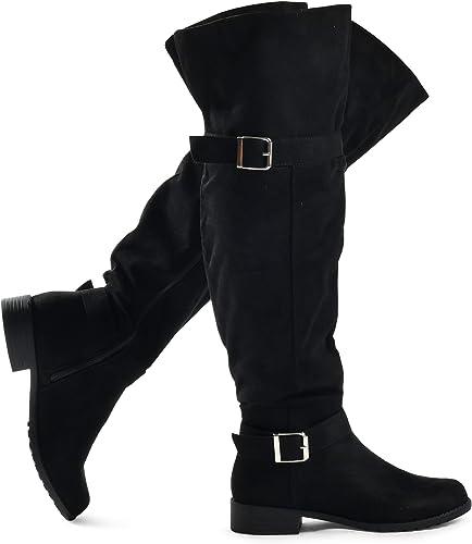 Women's Knee High Stacked Heel Riding