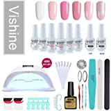 Vishine Gel Nail Polish Starter Kit, 48W LED Nail Dryer Lamp Base Top Coat 6 Pretty Colors Nail File Manicure Tools Matte Top Coat for Nail Art #01