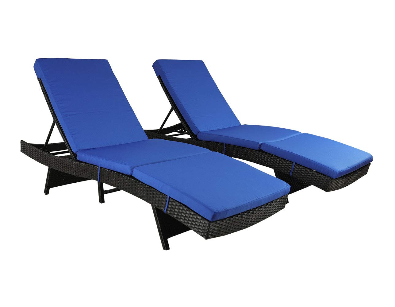 Patio Chaise Lounge Garden Furniture Patio Furniture Chairs PE Black Rattan Wicker Chair Adjustable Cushioned Outdoor Home Lounger Pool Side Chairs (Royal Blue Cushions,Set of 2)
