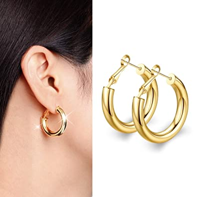 700614f7c Image Unavailable. Image not available for. Color: wowshow Small Thick Gold  Hoop Earrings ...