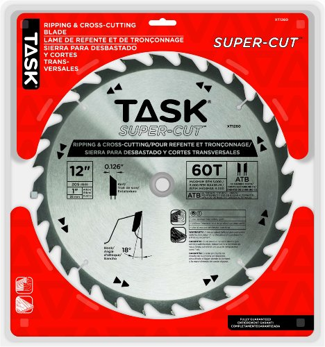 Task Tools XT1260 12-Inch Super-Cut Series Carbide Saw Blade 1-Inch Arbor (Supercut Arbor)