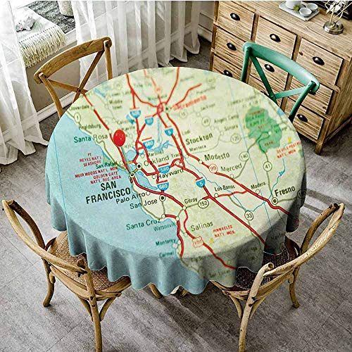 ScottDecor Map Picnic Cloth Vintage Map of San Francisco Bay Area with Red Pin City Travel Location Wedding Round Tablecloth Light Blue Pale Green Red Diameter 60