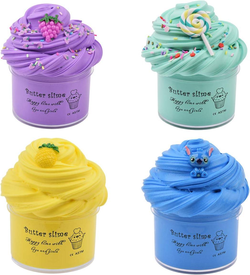 Luclay Slime Putty Slime, 4 Paquetes Kit de Limo de Mantequilla Suave Juguetes para aliviar el estrés para niños Adolescentes Adultos para aliviar el estrés, Ejercicios de Manos y Dedos
