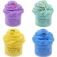 Luclay Fluffig Slime Putty Slim, 4-pack mjukt smör slime kit stressavlastande leksaker för barn tonåringar vuxna för…