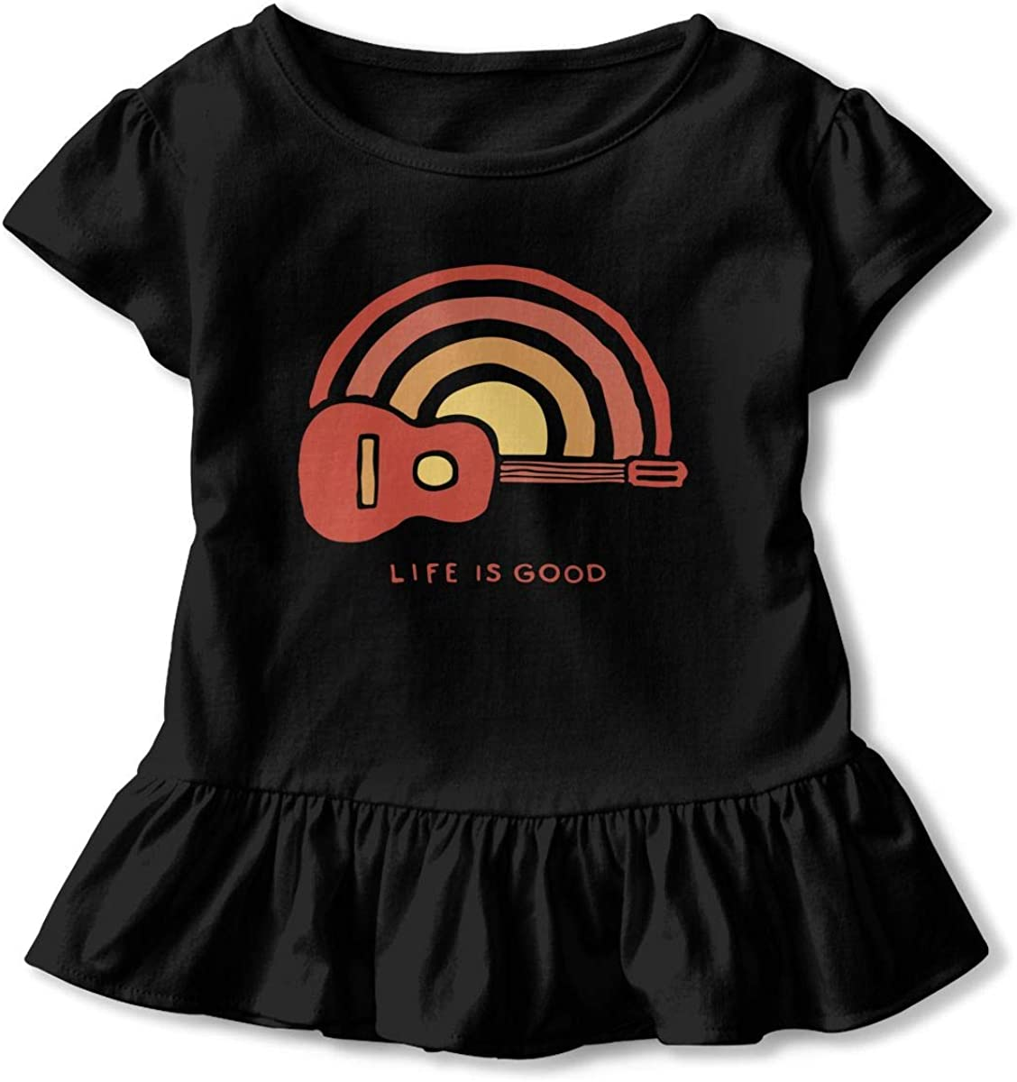 Sunrise Guitar Life Toddler Girls T Shirt Kids Cotton Short Sleeve Ruffle Tee