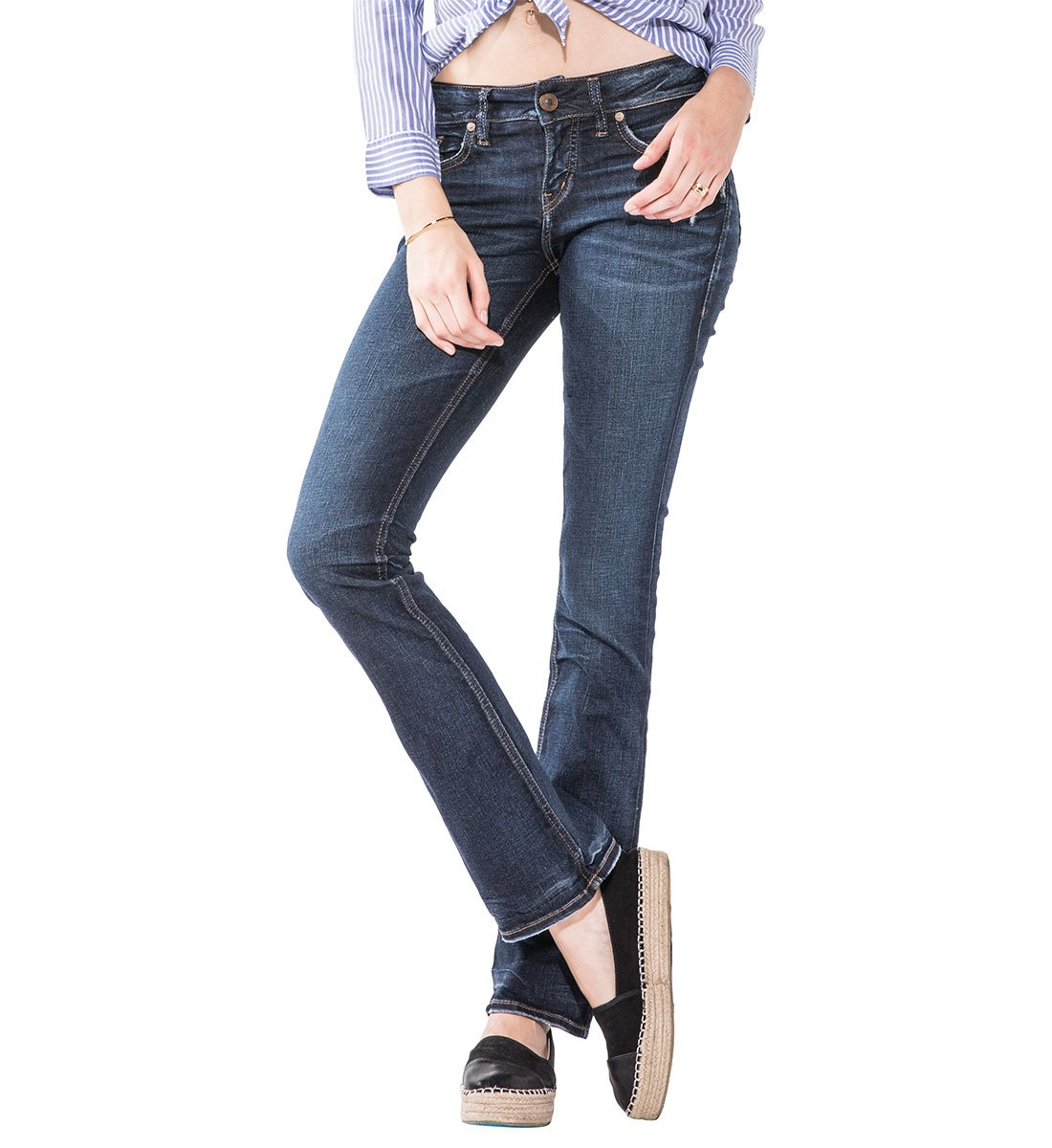 Silver Jeans Women's Co Elyse Relaxed Fit Mid Rise Slim Bootcut, Dark Hand Sand Wash, 33X31