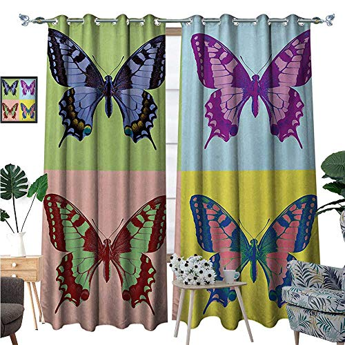 BlountDecor Butterfly Thermal Insulating Blackout Curtain Pop Art Swallowtail Pavilions Wild Life Transcendent Energies of Miraculous Wings Patterned Drape for Glass Door W108 x L84 Multicolor