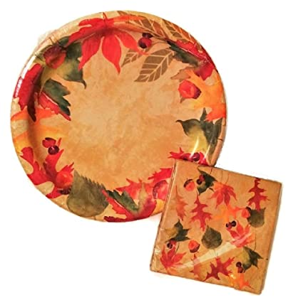 Amazon.com: Autumn Fall Leaves Party Paper Plates and Napkins Set by ...