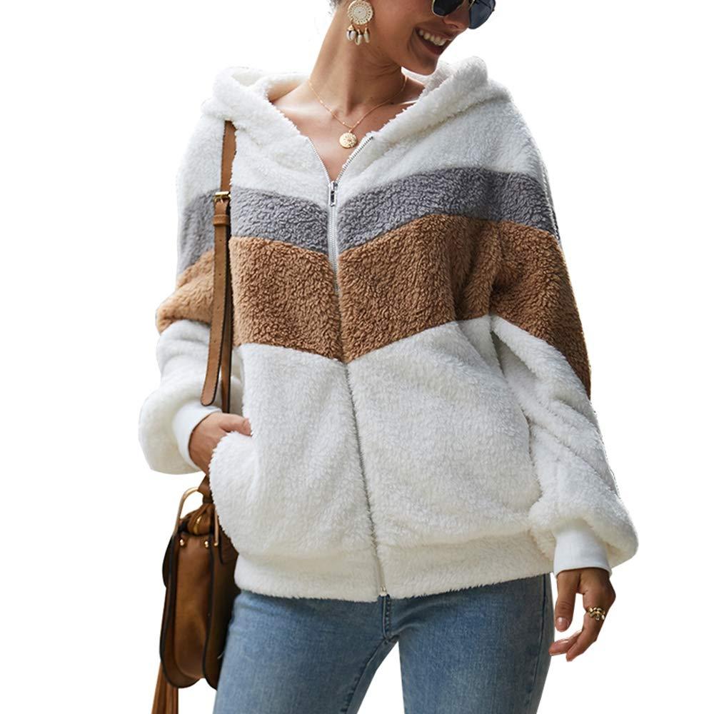 Women's Casual Fleece Fuzzy Sherpa Hoodies,Long Sleeve Full Zipper Block Color Outwear Coat Sweatshirt White by KINGLEN Womens Sweatshirt