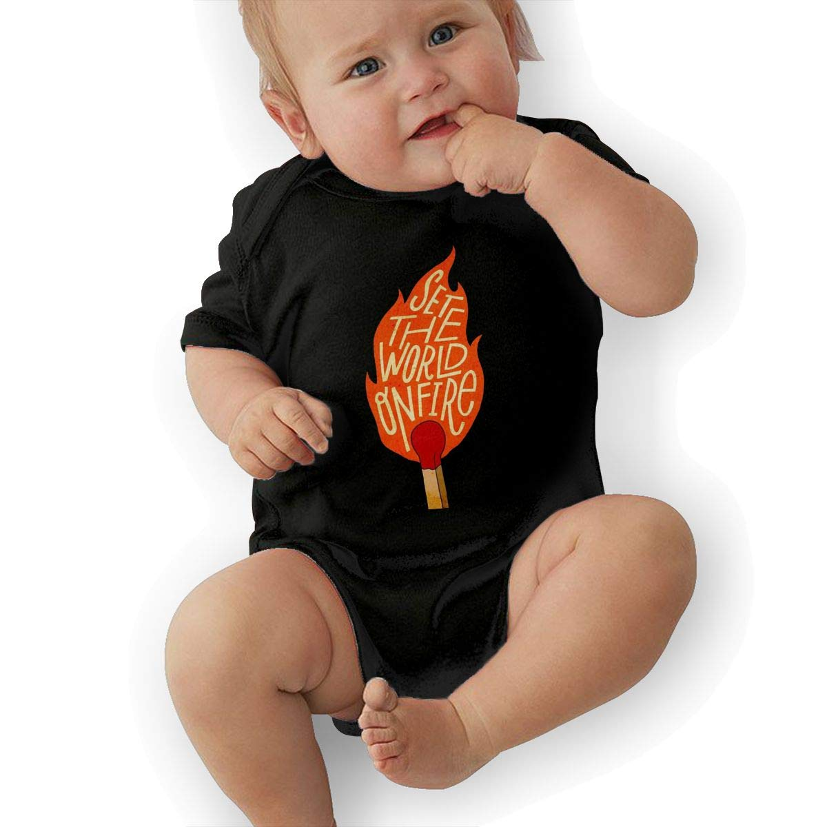 Set The World On Fire Newborn Baby Short Sleeve Romper Infant Summer Clothing