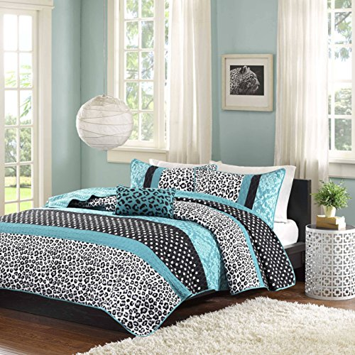 4 Piece Kids Teal Black Animal Print Theme Full Queen Coverlet Set, Jaguar Cheetah Pattern Bedding Polka Dot Damask White Leopard Print Jungle Wild Life Motif, Polyester by D&A