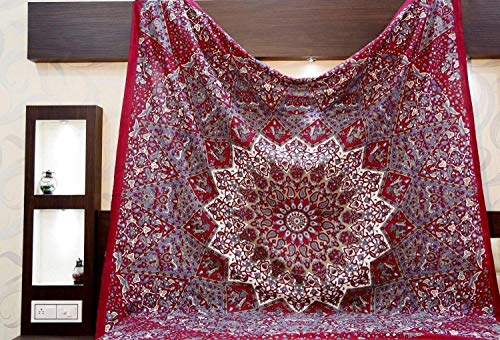 Queen Star Mandala Tapestries Wall Hanging Tapestry Bedding Sofa Table Cover Living Room Bedroom Divider Coverlet Window Curtain Picnic Blanket Sheet Round Flower Trippy Cotton Bedcover Elephant Art