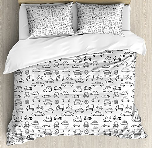 Cars Duvet Cover Set Queen Size by Ambesonne, Transportation and Automotive Industry Themed Collection Childish Sketch Art Style, Decorative 3 Piece Bedding Set with 2 Pillow Shams, Black White Transportation Multi Duvet Set